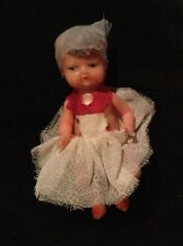 Vintage Miniature Baby Doll Child Made In Italy Hard Plastic w/Hair 2.5""