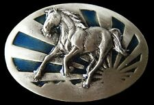 Belt Buckle Horse Equestrian Rising Sun Animal Casual Cool Metal Boucle Ceinture