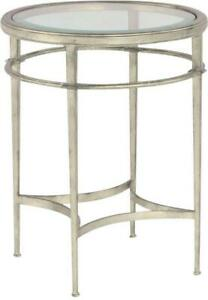SIDE TABLE WOODBRIDGE MADELEINE ROUND SILVER LEAF ANTIQUED FRENCH DIMPLED