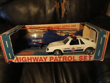 Highway Patrol Vintage Toy Set Jet Helicopter & Patrol Car - Toy - Original