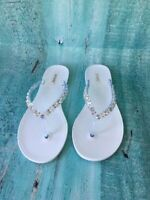 YORK  JELLY SANDALS  FLIP FLOP FLAT WOMEN SHOES RHINESTONE By ANN MORE