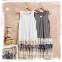 New Style Mori Girl Sleeveless Tiered Skirt Sweet Base Skirt JSK Harajuku Dress#