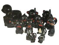 VTG Black Ceramic Redware Figurine 13 Pc Lot ~ Salt & Pepper, Bank Planter Japan