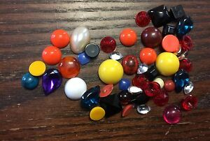 Vintage Assorted Color & Style Lucite Cabochon & Loose Stone Shape Jewel Lot