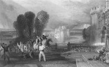 MILITARIA. Castle fighting horseback shots fired c1830 old antique print