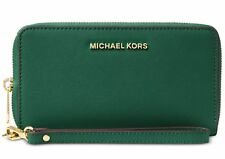 Michael Kors Jet Set Travel Saffiano Leather Large Smartphone Wristlet Moss