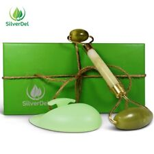 2 in 1 Premium Jade Roller & Silicone Face Cleansing Brushin Handmade Gift Box