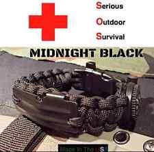 Paracord EDC Survival Bracelet BLACK / Flint Rod / Compass Whistle 550 Fire Cord