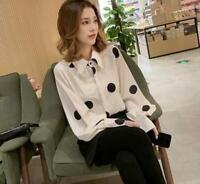Womens Ladies French Fashion Vintage Polka Dot Puff Sleeves Blouse Shirt Top 979