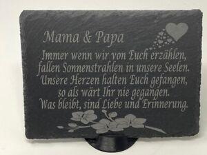 Grabschmuck Grab Schieferplatte mit Spruch Gravur Schiefer Grabstein Grabdeko