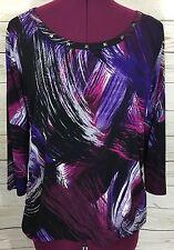 Laura Ashley Black Purple Brush Stroke Print Top Blouse Studded Neck Size PL