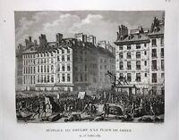 Paris en 1789 Place de l'hôtel de ville Foulon Rare Gravure Révolution Française