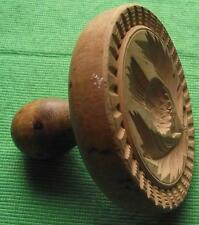Lovely Old Scottish 19th Cent Wood Treen Carved Butter Stamp - Thistle
