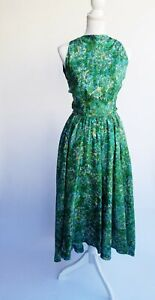 Vintage 1950's Anne Fogarty Party Dress Green Silk Emerald Full Skirt S spring