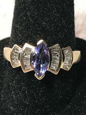 10k Yellow Gold Diamond & Tanzanite Ring Size 6.75