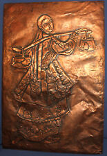 Vintage wall hanging copper plaque woman with folk costume carry buckets