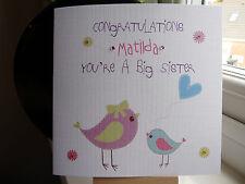 Cute Handmade Personalised New Baby Big Sister or Big Brother Bird Card