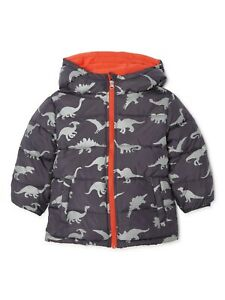 Boys DINOSAUR Bubble Jacket Coat with Hood Baby Toddler Wonder Nation