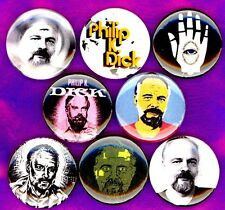 """Philip K Dick  8 NEW 1"""" buttons pins badge science fiction author"""