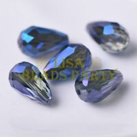 New 10pcs 18X12mm Big Teardrop Faceted Spacer Loose Glass Beads Grayish Blue