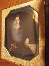 1/6 Daguerreotype - Young Lady w/ Purse,Glitter Jewelry 1840's