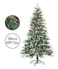 Artificial Christmas Tree 6ft 180cm Ontario Spruce PE Flocked Pine Cones Snow