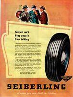 1946 ORIGINAL VINTAGE SEIBERLING TIRE MAGAZINE AD