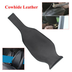 1x Car Front Seat Mat Cover Driver's Seat Lumbar Cushion Cowhide Leather Sponge