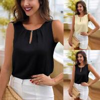 Women Chiffon Sleeveless Blouse T Shirt Ladies Summer Loose Casual Vest Tank Top