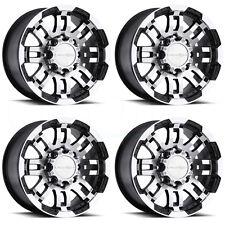 16x8 Vision Off Road 375 Warrior 6x114.3 6x4.5 12 Black Machined Wheel R set(4)