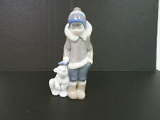"LLADRO POLAR BEAR & BOY FIGURINE 5 1/2"" TALL EXCELLENT PRE-OWNED"