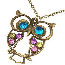 Owl Pendant Necklace Steampunk Jewelry Wholesale Retro Vintage Antiqued Bronze