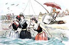 Ehrhart 1889 SEASIDE ANGLING VICTORIAN LADIES GENTS Love Marriage Bathing Suits