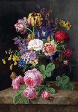 19C Dutch Flemish Painting Still Life Roses Tulips Flowers Canvas Print