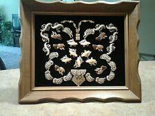 Vintage Jewelry Art Collage, Butterfly, Black Velvet, Framed