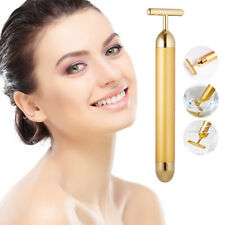 24K Gold Beauty Bar Facial Roller Face Vibration Skincare Massage Face Lift Firm