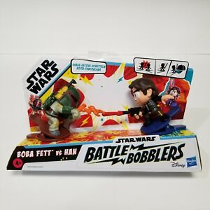 Star Wars Battle Bobblers Boba Fett Vs Han Solo Clippable Battling Figure Toy