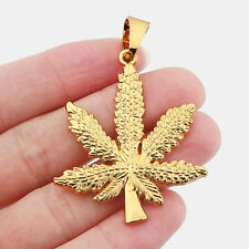 Large Gold Marijuana Cannabis Pot Weed Leaf Charms Necklace Pendants 51x42mm