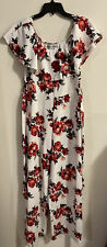 Almost Famous Womens Xl White Floral Sleeveless Wide Leg Jumpsuit W/Belt! M112