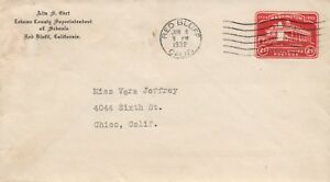 1932 Red Bluff California Tehama County Superintendent of Schools Postal Cover