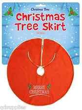 Christmas Tree Skirt Red Felt Gold Trim 90cm Base Cover Xmas Decoration W57 058