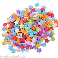 500 Mix Sterne Acryl Flach Spacer Perlen Beads Mehrfarbig 9x9mm