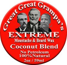 COCONUT  Stiff - Mustache & Beard Wax - 2oz - All Hair, Vitamins, NO Petroleum