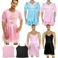 Sissy Men Smooth Satin Fancy Dress Vest Tank Tops Underwear Crossdress Nightwear