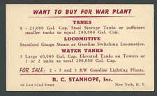 1943 PC S C Stanhope Wants To Buy Storage & Water Tanks & A Switching See Info