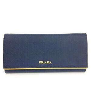PRADA Saffiano Blue Leather Long Bifold Wallet/F0218