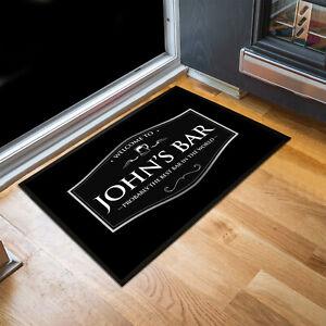 Personalised any name Welcome silver label Bar door mat Door mat 60 x 40 cm
