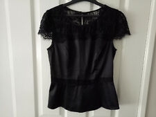 Review Stunning Black Formal Bow Top with Lace Cap Sleeves Size 8