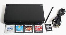 Original Nintendo 3DS XL Cosmo Black Console System (4) Game Bundle-16GB SD Card