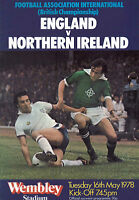 England v Northern Ireland Official Programme - 16 May 1978